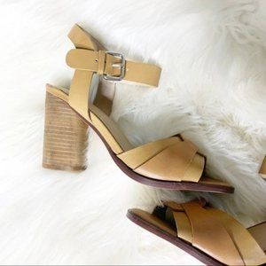 Crevo tan leather strappy stacked wood heels 6.5